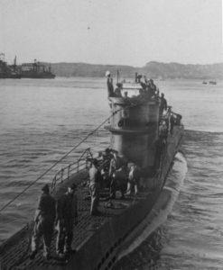 U576 leaving it's base in France in 1942. Photo, NOAA.