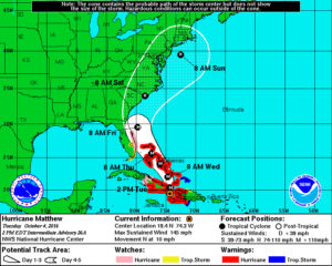 National Hurricane Center Prediction at 11 a.m. 10/4.