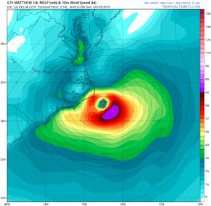 GFS prediction placing Matthew south of Ocracoke Island Sunday midnight. Image, Tropical Tidbits