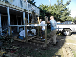 Fixing Blackbeards Lodge on Back Road. Photo: Connie Leinbach