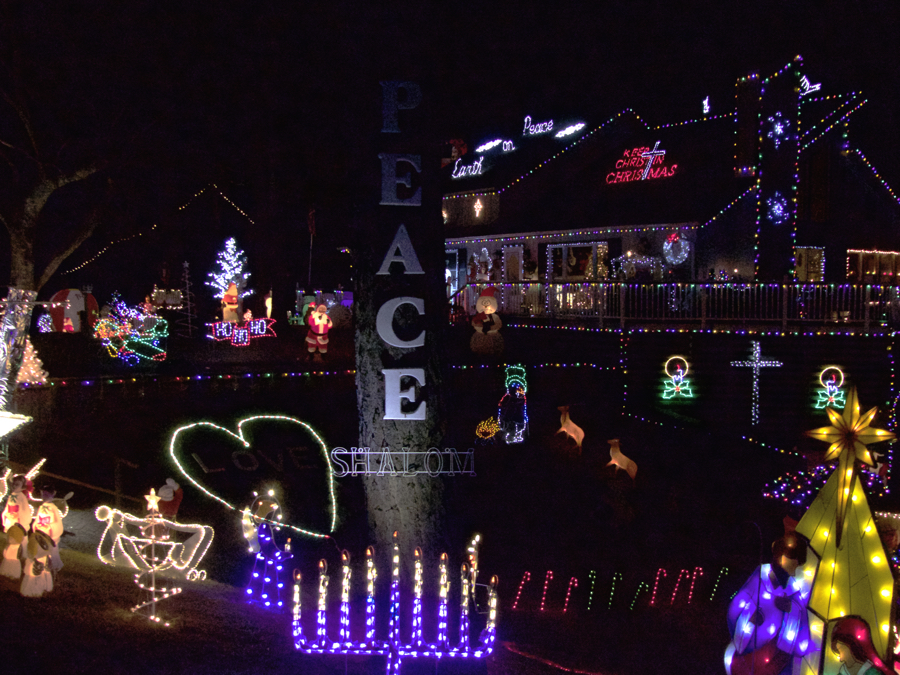 Poulos House With Lights Showing A Universal Message Of Family. Photo Kip  Tabb. U201c