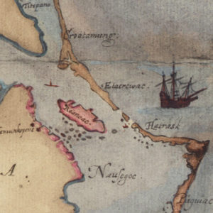 1587 map showing location of the Lost Colony with Roanoke Inlet, now closed, depicted.