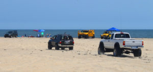 Beach driving at Cape Hatteras National Seashore.