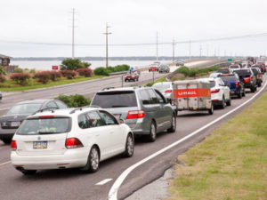 Traffic backed up on a summer weekend on the Outer Banks.