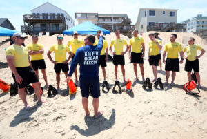 Kitty Hawk Director of Ocean Rescue Cole Yeats and Secret Service trainees. Photo Virginian Pilot