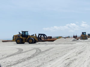 Beach Nourishment construction on the town of Duck's beach.