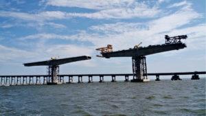 The new Bonner Bridge is taking shape. Photo NCDOT.