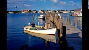 Fishing boat at dock on Silver Lake, Ocracoke.