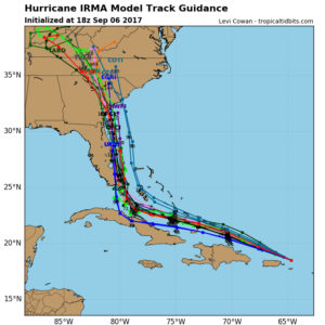 Noon September 6 guidance for Hurricane Irma. The black track in the middle of the projections is the National Hurricane Center forecast.
