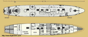 According to experts, the sunken ship is most likely at WWII LCS or LCI. 150' long, they were used for WWII amphibious landings.