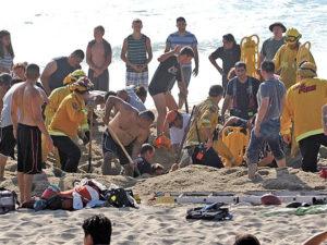 An unsuccessful rescue attempt on a California beach.