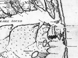 1737 Moseley Map showing Colington Island. Small section of map represented. ECU Digital Collections.