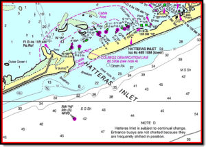 Chart showing navigational hazards at Hatteras Inlet.