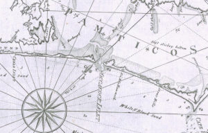 Late 18th century Jonathan Price map showing Ocracoke Inlet and Shell Castle Island. Note that there was no Hatteras Inlet at that time.