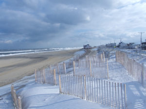 Looking south along the Kitty Hawk beach at low tide.